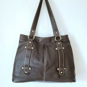 Coldwater Creek Brown Leather Tote Large